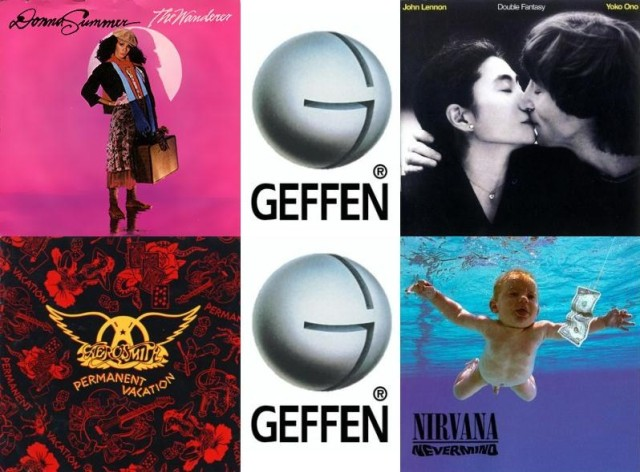Geffen Records - Alcune copertine di album famosi prodotti dall'etichetta. In senso orario a partire da in alto a sinistra: Donna Summer - The Wanderer (1980); John Lennon - Double Fantasy (1980); Nirvana - Nevermind (1991); Aerosmith - Permanent Vacation (1987)