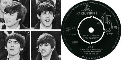 Beatles nel 1964 e di fianco il 45 giri di Help! (Parlophone, 1965)