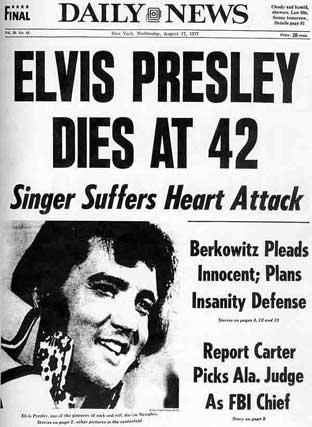 17 agosto 1977: Il Daily News titola sulla morte di Elvis