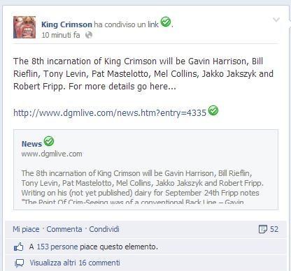 24-09-2013 ore 20.14 - I King Crimson annunciano su Facebook il loro ennesimo ritorno