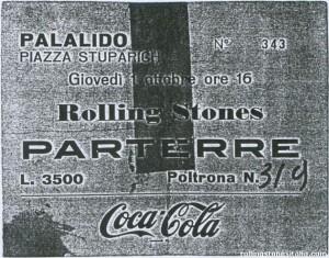 1° ottobre 1970: biglietto per assistere al primo dei due concerti dei Rolling Stones al Palalido (fonte: www.rollingstonesitalia.com