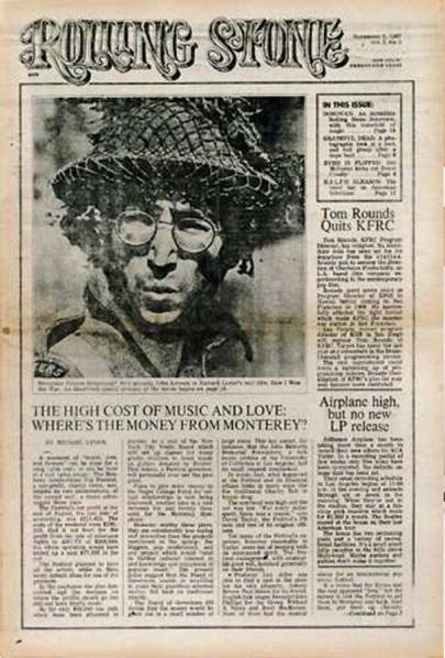 9 novembre 1967, USA. Esce il primo numero di Rolling Stone. In copertina c'è John Lennon
